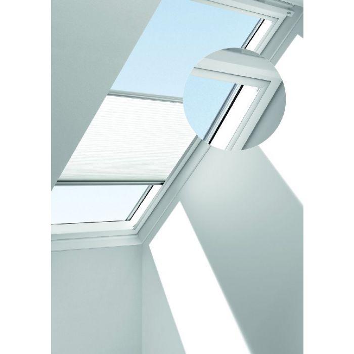 VELUX Faltstore, Plissee im Slimline-Design, mit weiß lackierten Schienen für die Velux Fenster der weißen Linie