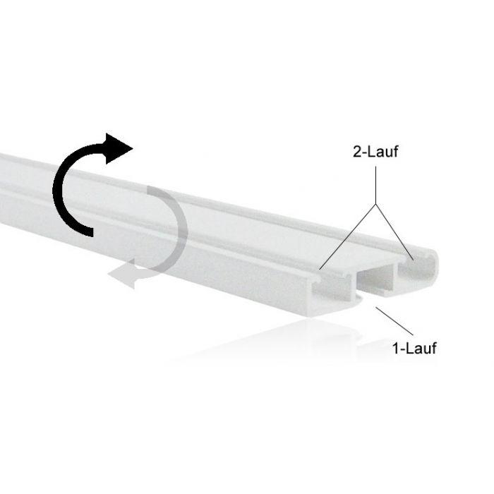 Technik, durch wenden der Schiene wird eine 1-lauf Schiene zu einer 2-lauf Schiene