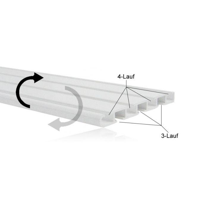 Technik, durch wenden der Schiene wird eine 3-lauf Schiene zu einer 4-lauf Schiene