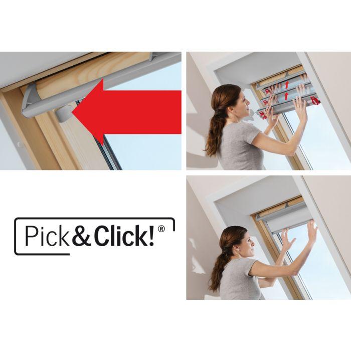 Mit dem Pick&Click®-System lassen sich die Faltstores in wenigen Minuten montieren.
