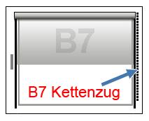 Kassettenrollo zum Kleben auf dem Rahmen B7 Perl-Ketten-Bedienung
