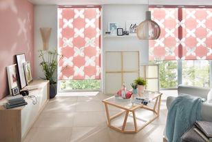 Doppelrollo im rosa Flora Design